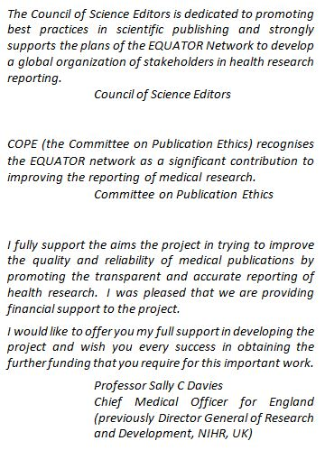 Expressions of support for transparent and accurate health research reporting and for the EQUATOR Network