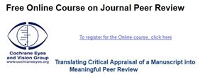 Logo for the Cochrane Eyes and Vision Group online course on journal peer review