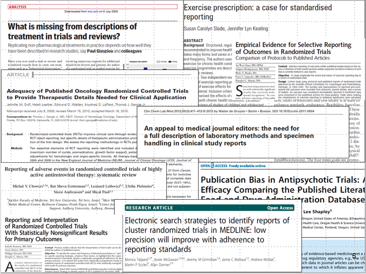 Titles of papers about the quality, reporting and reproducibility of published biomedical research studies
