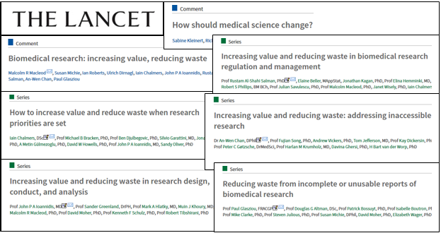 Titles of papers in the Lancet Waste Series