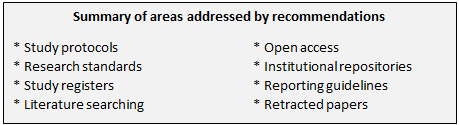 List of topics addressed by the recommendations