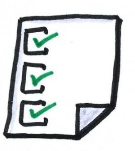 Cartoon image of a checklist