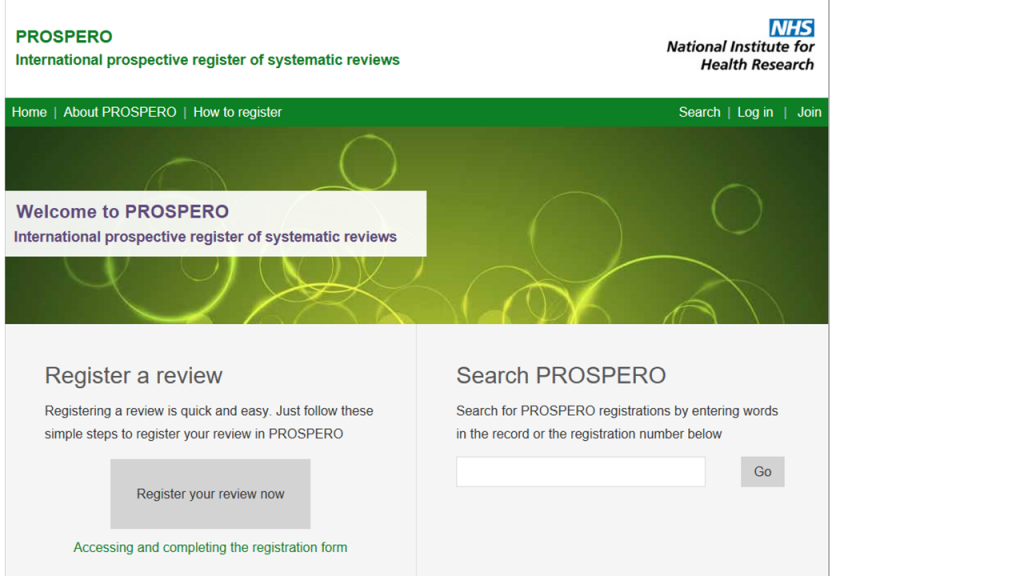 PROSPERO website home page as at August 2018