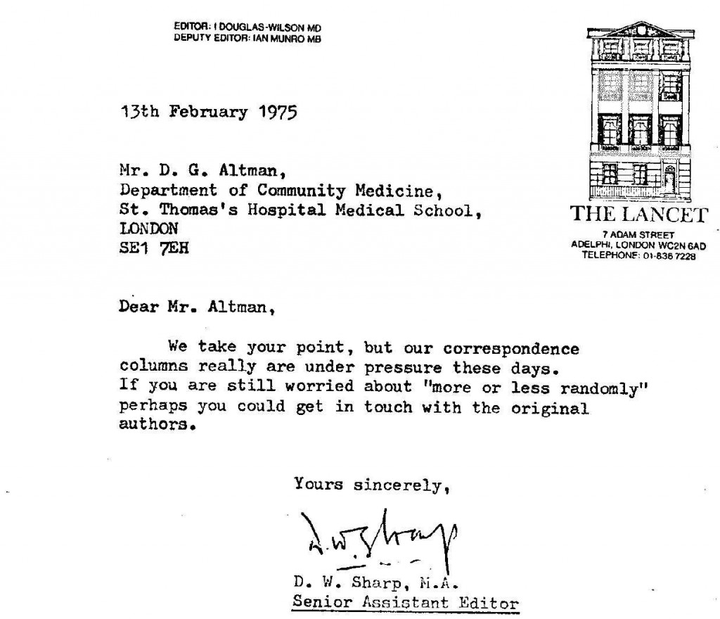 Reply from the Lancet on 13th February 1975
