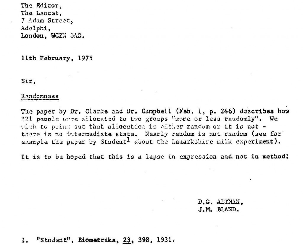 Letter sent to the Lancet on 11th February 1975