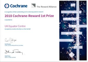 2018 Cochrane-REWARD Prize Certificate